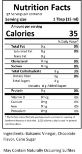 chocolate balsamic nutritional facts