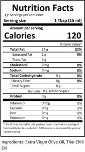 thai chili nutritional facts, thai chili olive oil, thai chili infused olive oil