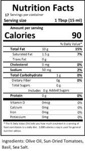 tomato basil dipping nutritional facts