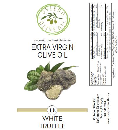 white truffle olive oil, truffle oil, infused olive oil, oviedo olive oil