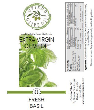 fresh basil olive oil, fresh basil flavor oil, oviedo olive oil