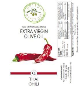 thai chili olive oil, infused olive oil, oviedo olive oil