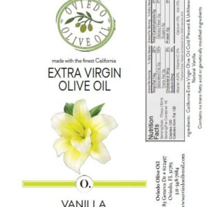 vanilla olive oil, vanilla infused olive oil, oviedo olive oil, infused olive oils, flavored olive oils